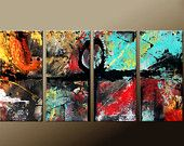 Original ABSTRACT Art Painting  4pc Original Custom Made to Order Modern Contemporary Painting on Canvas by Destiny Womack - dWo - 72x36