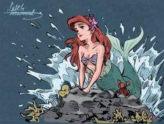 Artwork done by Unsure (if anyone knows the artist, lmk) Ariel Disney, Disney Princess Art, Disney Little Mermaids, Disney Fan Art, Disney Girls, Disney Love, Disney Magic, Ariel Ariel, Goth Disney