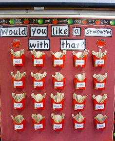 """Would You Like A Synonym With That?"" Synonym Word Wall- This display would be a great way to get students to expand their vocabulary by visually seeing the different words they can use or by adding more synonyms to the wall."