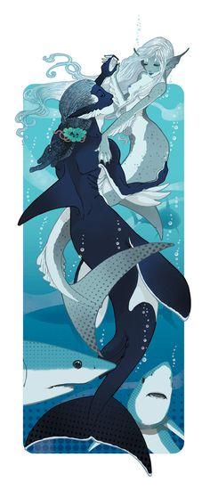 Orca and shark merfolk merman and mermaid Art from Marga Biazzi. Shark Mermaid, Mermaid Art, Magical Creatures, Fantasy Creatures, Sea Creatures, Character Art, Character Design, Mermaids And Mermen, Art And Illustration