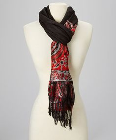 Another great find on #zulily! Black & Red Paisley Pashmina-Silk Blend Scarf #zulilyfinds
