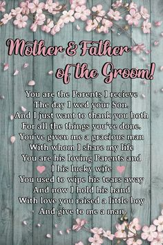 Poster To Parents-in-law - Mother And Father Of The Groom Mother In Law Birthday, Mom Birthday, Happy Birthday Me, Gifts For Inlaws, Father In Law Gifts, Mother In Law Quotes, Fathers Day Quotes, Happy Birthday Wishes Quotes, Birthday Quotes
