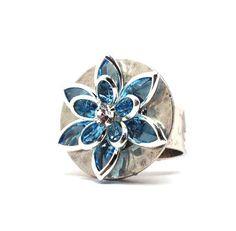 Aquamarine Ring Swarovski Crystal Flower by GirlBurkeStudios, $30.00