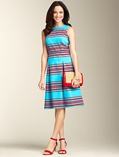 Talbots Mirrored-Stripe Dress. Mirrored stripes align a feminine and flattering dress.