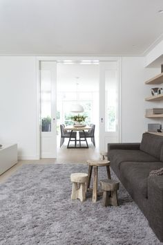 White and wood living Home Living Room, Living Spaces, Interior Styling, Interior Design, Scandi Home, Luxury Homes, New Homes, House Design, House Styles
