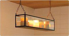 Hanglamp glas design landelijk LED brons-nikkel-chroom 14 kaarsen 1,5m