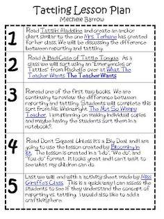 10 Tattling Ideas Classroom Behavior School Counseling Beginning Of School