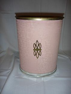 VIntage Mid Century Pearl Wick Pink Trash Rubbish Waste Can with Medallion Retro