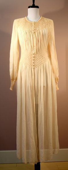 30s / 40s Silk Robe: Fine Smocked Georgette Dressing by iseefrance