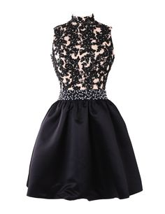 Exquisite A-line High Neck Knee Length Satin Homecoming/Cocktail Dress with Appliques Beads, juniors homecoming dresses, cheap homecoming dresses, short homecoming dresses, plus size homecoming dresses, appliqued homecoming dresses