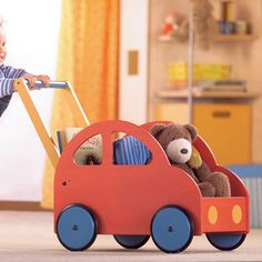 Haba Pushing Car is the ideal push toy for toddlers just learning to walk! Wooden toddler toys from Bella Luna Toys. Wooden Toys For Toddlers, Wooden Baby Toys, Wood Toys, Toddler Toys, Toys For Boys, Push Toys, Woodworking For Kids, Homemade Toys, Toy Boxes