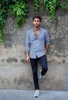 Striped Shirt With Dark Blu denim for men- best casual outfit for men