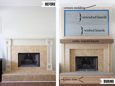 Fireplace Makeover | Before | During | Cottage | Farmhouse