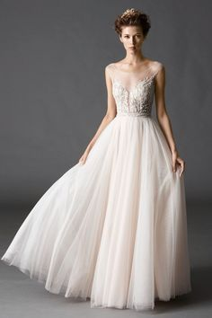 Watters Kaliah - Dreamy ballerina inspired A-line gown full soft net skirt - available at Julian Gold Bridal