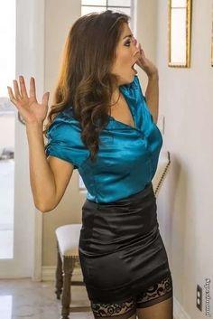 Satin Pencil Skirt, Satin Skirt, Satin Dresses, Leather Dresses, Leather Mini Skirts, Leather Skirt, Sexy Blouse, Blouse And Skirt, Pin Up Girl Vintage