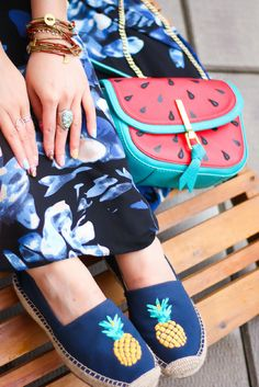 Pineapple espadrilles, watermelon bag outfit, vera bradley espadrilles. Shop the look on www.layersofchic.com