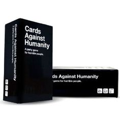 """Cards Against Humanity - """"A party game for horrible people"""" - play your cards to make awful/hilarious matches (see some examples on Amazon, etc) ----My family needs this game!!!!"""