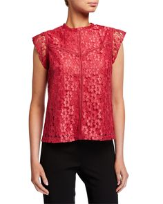 Nanette Lepore Lace High-neck Cap-sleeve Stitched Blouse In Pink Nanette Lepore, World Of Fashion, Cap Sleeves, Pullover, Stitch, Clothes For Women, Blouse, Lace, Pink