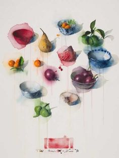 Thornton Walker.   Scattered Still Life I  /  Watercolour on paper  / 100 x 75cm