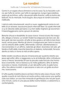 Testi sulla Primavera per la Scuola Primaria | PianetaBambini.it Classroom, Words, School, Vacation, Animals, Art, Spring, Reading, Italy