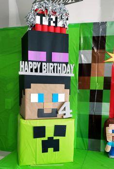 Minecraft Birthday Decorations, Diy Minecraft Birthday Party, Minecraft Gifts, 7th Birthday Party Ideas, Birthday Games, 8th Birthday, Mindcraft Party, Video Game Party, Safari Party