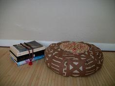 Brown and Rose Medallion Heart Zafu Meditation Cushion. by ZafuChi
