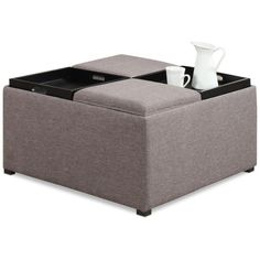 Simpli Home Avalon Fabric Coffee Table Storage Ottoman featuring polyvore, home, furniture, ottomans, fawn brown linen, modern ottoman, fabric footstool, upholstered footstool, modern storage ottoman and upholstered furniture