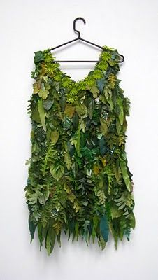Recycled cemetery flower dress. Talk about going green!