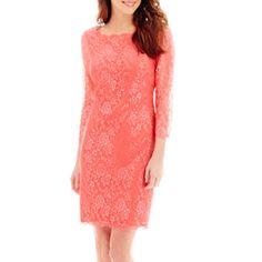 Simply Liliana 3/4-Sleeve Scalloped Lace Dress