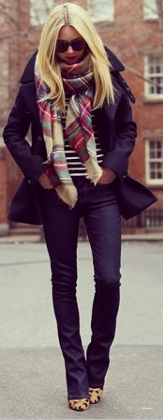 Oversized Plaid Scarf paird with Leopard Heels.. love.