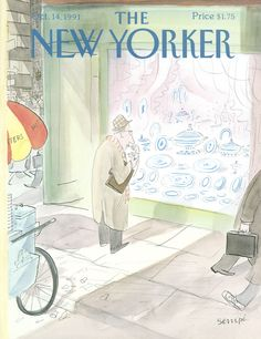 """The New Yorker - Monday, October 1991 - Issue # 3478 - Vol. 67 - N° 34 - Cover by """"Sempé"""" - Jean-Jacques Sempé The New Yorker, New Yorker Covers, Cartoon Drawings, Cartoon Art, Vintage Illustration Art, Transformers Art, Black Women Art, Book Cover Art, Pulp Art"""