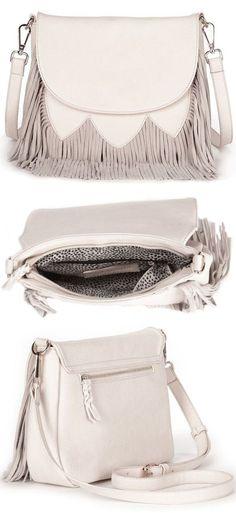 73a6460aeb30 Ivory Fringe Crossbody Handbag Designer Purses
