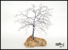 Almond Wire Tree With White Beads