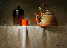 Little Red Mug by David Cheifetz Oil ~ 9 x 12