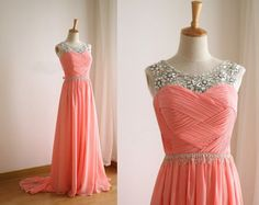 Handmade Coral Chiffon Round Neckline A line Floor Length Prom Dresses with Beadings, Coral Chiffon Prom Dresses, Prom Dresses 2015, Evening Gown
