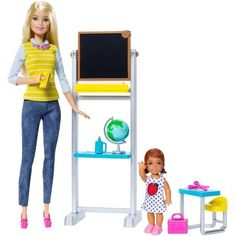 Explore the world of a preschool teacher with Barbie®! Get ready for classroom fun with this play set that comes with Barbie® doll and an adorable toddler student. Fill a classroom with the chalkboa... Barbie Kids, Barbie Doll Set, Ken Doll, Toys For Girls, Kids Toys, Accessoires Barbie, Colorful Desk, Barbie Playsets, Baby Alive