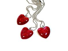 Sparkly Glitter Glass Heart Necklace Pendant, Heart Jewelry, Nail Polish Necklace