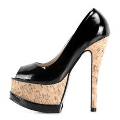 Black Fashion Wood Grain Platform Peep-toe High-heeled Shoes $45 at shopswagstore.com