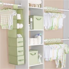 Baby Closet System - Katie, aren't these some of the colors you chose for the nursery? This looks really cute and really efficient for a small closet. Nursery Closet Organization, Nursery Storage, Closet Storage, Baby Hamper, Delta Children, Storage Sets, Storage Area, Closet System, Baby Time