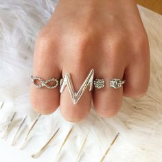Infinity Ring Chevron Ring  Double Dice Ring   Mixin' n matchin'