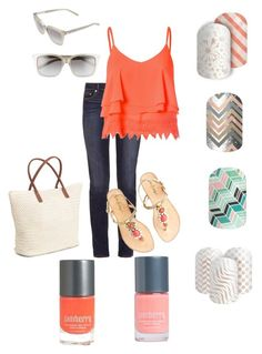 """""""Grapefruit"""" by renee-eason on Polyvore featuring Tory Burch, Glamorous, Lilly Pulitzer, H&M and Bobbi Brown Cosmetics"""