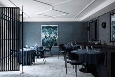 GUBI // Masculo Chair and Cobra Wall Lamp at Maison du Danemark Low Stool, Dynamic Design, Bookcase Shelves, Scandinavian Furniture, Lounge Sofa, Paris, Restaurant Design, Cafe Restaurant, Chair And Ottoman