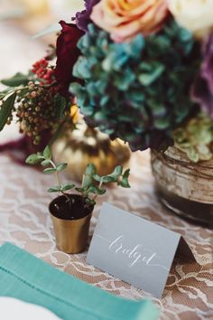 Potted plant place settings.
