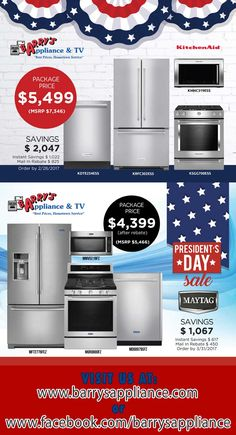 President S Day Kitchenaid Maytag Packages