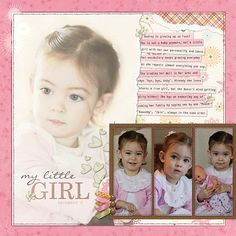My Little Girl layout from Shabby Shoppe blog post by Rosy about turning stripes to plaid.  So sweet!