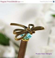 Dragonfly Hair Stick Blue Hairstick by PurpleMoonDesigns