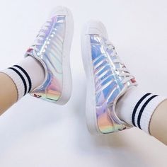 Sneakers For Girl : Picture DescriptionShoes: holographic holographic superstar holographic superstars laser holographic adidas adidas Metallic Sneakers, Blue Sneakers, Girls Sneakers, Shoes Sneakers, Holographic Adidas, Holographic Fashion, Holo Shoes, Tennis, Slippers