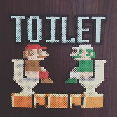 Mario toilet sign perler beads by aika19840905