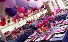Spring wedding... Table settings... Purple and fushia!