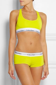 Calvin Klein Underwear|Modern stretch cotton-blend soft-cup bra|NET-A-PORTER.COM